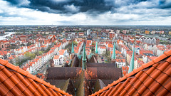 Gdansk (Tommy Høyland) Tags: view houses colours high urban old travel town city tourist gdansk green orange clouds river saturation above 2017 scenery elevated st mary rooth scenic rebuild polen environment historic basilica assumption blessed virgin spire dramatic basilicaoftheassumptionoftheblessedvirginmary stmary fuji fujifilm xt2 xf1024