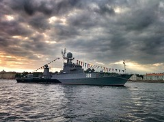 Battleship (iso9000t) Tags: water ship battleship reflection sunset nexus 5 mpbile photography neva нева парад parade