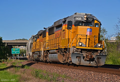 """Westbound Local in Bonner Springs, KS (""""Righteous"""" Grant G.) Tags: up union pacific railroad railway locomotive train trains west westbound kansas subdivision local freight emd power trans engine"""