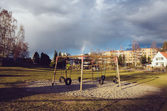 playground love (19seconds) Tags: playground oslo norway rainbow clouds swing travel nikon28mmf18