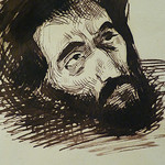DELACROIX Eugène - Têtes, Etudes d'après la Gravure de L'Autoportrait du Titien (drawing, dessin, disegno-Louvre RF10599) - Detail 66 thumbnail
