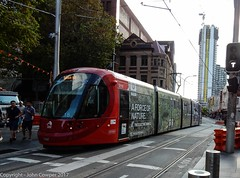Sydney Light Rail - LRV2118 under cloudy skies! (john cowper) Tags: sydneylightrail lrv2118 haystreet haymarket capitolsquare sydneypublictransport urbos3 lightrailvehicle lightrail sydney newsouthwales