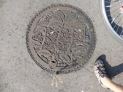 Motomiya (Mayumi) manhole (Stop carbon pollution) Tags: japan 日本 honshuu 本州 touhoku 東北 fukushimaken 福島県