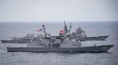 170428-N-GD109-015 (Official U.S. Navy Imagery) Tags: jsashigaraddg178 foreground thearleighburkeclassguidedmissiledestroyerusswayneemeyerddg108 ticonderogaclassguidedmissilecruiserusslakechamplaincg57 philippinesea