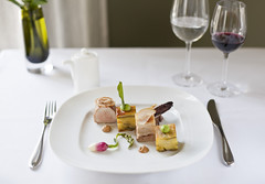 Seared loin and slow braised belly of Blythburgh pork 1 (Jhy Turley) Tags: food apple restaurant slow fine sage gourmet pork belly potato burnt dining loin puree seared millefeuille braised radicchio plated blythburgh sctratchings