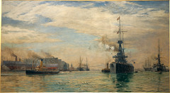 William Lionel Wylie, Tower House, Portsmouth, 1911 (Archives New Zealand) Tags: warart newzealandgovernment hmsnewzealand worldwarone archivesnewzealand favouritearchive officialwarartists ww1 wwi war conflict greatwar