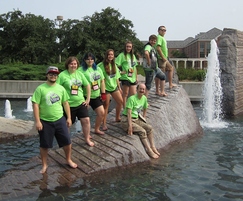 Drury Drama Team in the Fountain