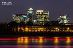 Canary Wharf (Matt Parry Photo) Tags: uk longexposure greatbritain england london nightlights unitedkingdom britain cuttysark lighttrails bluehour canarywharf canon60d boattrails mattparry