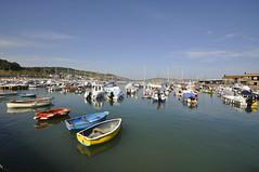 Harbour view (dawn.v) Tags: uk sea summer england water boats coast seaside harbour july wideangle bluesky dorset southcoast lymeregis sunnyday wideanglelens westdorset
