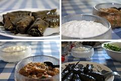 Greek Sunday (underthesun) Tags: food cooking leaves greek stuffed vine aubergine tzatziki dolmades ντολμαδάκιαγιαλαντζί