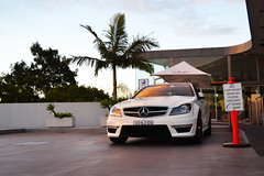 Sunset Relection (Cody Kim Photography) Tags: auto sunset white reflection car leather mercedes benz power rich sydney australia automotive exotic mercedesbenz expensive v8 amg blackseries c63 c63amg