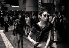 Shibuya Street (Boijin) Tags: street bw white black girl fashion japan tokyo glasses asia shibuya  tokio
