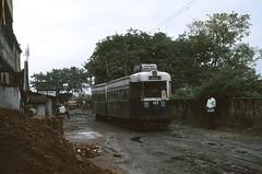 Calcutta 182 Bagbazar terminus 1980 (Guy Arab UF) Tags: india public set transport tram company trams kolkata calcutta terminus 182 4wheel tramways coupled bagbazar