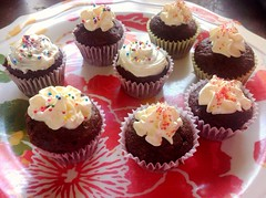 Mini Devil's Food Cupcakes (strawberryconfetti) Tags: food cute love cake dessert cupcakes chocolate sprinkles minimuffins devilsfoodcake minicupcakes