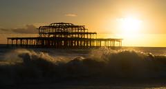 West Pier, Brighton (Sam_Carpenter1974) Tags: ocean sunset sea west silhouette sussex pier brighton waves westpier