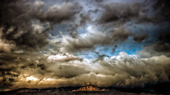 Sunrise, Clouds And Three Cats (hbmike2000) Tags: california morning sky usa sunlight snow storm mountains beautiful rain clouds sunrise dark landscape early nikon desert cloudy stormy coachellavalley d200