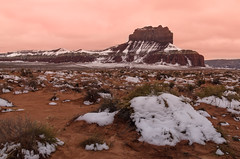 Shades of Red at Wild Horse Butte (Adam's Attempt (at a good photo)) Tags: statepark red white snow green utah nikon cloudy sigma wideangle dirty erosion dirt redrock sanrafaelswell sagebrush pinkclouds goblinvalley goblinvalleystatepark shadesofred 1770mm utahsnow wildhorsebutte lr5 d7000 shadesofredatwildhorsebutte