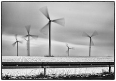Grey Day (shlomo2000) Tags: street schnee bw white snow motion black cold monochrome field turn landscape moving noir fuji slow negro champs feld frosty nd sw neige windrad bianco blanc tristesse trist glacial olienne x100 schwarzweis efex silver