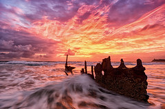 Remnants Ablaze (Kristin Repsher) Tags: longexposure water clouds sunrise nikon df waves earlymorning australia brisbane shipwreck queensland sunshinecoast caloundra ssdicky 20mmf28 dickybeach