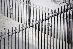 gate and fence in snow (jlodder) Tags: snow chicago fence us gate overcast il driveway snowfall piles ef100300mmf56l chiberia polarvortex winterof2014