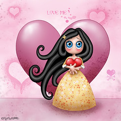 Please love me by Myria-Moon 700x700 (Myria-Moon) Tags: pink anime cute rose children colorful chibi digitalart kawaii mignon color petitefille aimemoi myriamoon illustrationenfantine