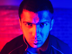 Halfsies (The Loonatic) Tags: blue light red portrait hot painting 50mm cool split tone d600