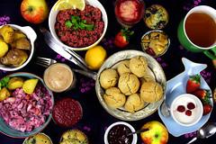 Sunday Brunch (heartenough) Tags: food fruits vegetables breakfast salad vegan lemon essen spice brunch scones smoothies salat frhstck bulgur veganes veganer heringssalat