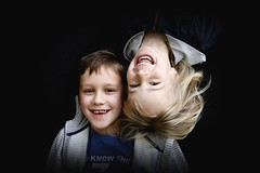 Brother & Sister Upside Down (Jochem.Herremans) Tags: family boy portrait brown love girl beautiful smile children happy nice eyes respect upsidedown sister brother young blond lovely clid challengeyouwinner