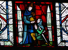 Knight kneeling before a monk, perhaps? - stained glass window detail - Rouen Cathedral (Monceau) Tags: knight kneeling monk detail praying stainedglass window rouencathedral rouen