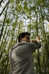 Bamboo field (Lise Hdx) Tags: portrait back man boy tree forest bamboo green nature natural shooting model photoraphy light air eyes profil