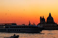 Ferry in the lagoon of Venice at sunset, Italy (filippogatteschi) Tags: ferry sunset red yellow colorful color image goldenhour canon eos 70d tamron2470 landscape landmark seascape cityscape birds seagull ship water sea lagoon venice venezia italy silhouette fineart photography 50mm sangiorgio island reflections perspective composition geometry settingsun sunlit light daylight dusk italia frame explore warm redsky orange