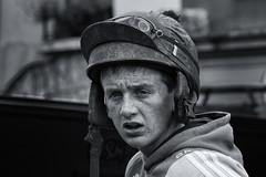 Stressed (Frank Fullard) Tags: frankfullard fullard young stressed jockey horseman horse hat helmet expression face worry irish ireland freckles monochrome portrait blackandwhite fair sad