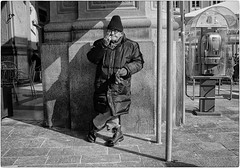 Shady Gesture (Steve Lundqvist) Tags: street streetphotography fujifilm x100s candid eyecontact shot old man poor winter elderly aged age people cigarette smoke smoking hat cappello coat jacket blackandwhite bw italy italia persone monocromo gesture finger middle dito medio gesto glasses element shoot shooter photography photo scene view life snapshot snap