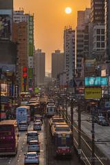 元朗  HongKong (TaiNg0415) Tags: 日落 太陽 元朗 hongkong hk 車 輕鐵 建築 樓