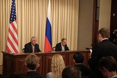Secretary Tillerson Listens as AP's Josh Lederman Asks a Question at a Joint Press Conference With Russian Foreign Minister Lavrov (U.S. Department of State) Tags: rextillerson sergeylavrov russia syria