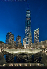 9/11 Memorial (20170411-DSC09990) (Michael.Lee.Pics.NYC) Tags: newyork 911memorial museum onewtc worldtradecenter brookfieldplace night twilight bluehour reflection sony a7rm2 voigtlanderheliar10mmf56