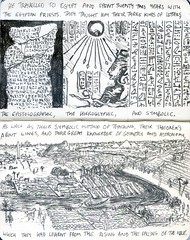 The Lives of Pythagoras 6 (Chris Murtagh) Tags: art pen ancientbiography pythagoras chrismurtagh philosophy pythagorean egypt ancient historical nile hieroglyphic writing pyramid sphinx boats oxen goats desert fertile crescent agriculture black white lute palm trees valley kings