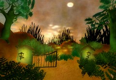 Niamh's Journey - Gate to Tir Na Nog 2 (Ceakay Ballyhoo) Tags: watercolour watercolor sl second life installation art storytelling celtic forest trees fairytale storybook