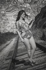 Van Gogh Skies [Explored 4/22 #248] (Keltron - Thanks for 10M Views!) Tags: select evelynfrost beautifulgirl vangogh railroad railroadtracks pantherbeach santacruz californiagirls california longhair cutoffs model