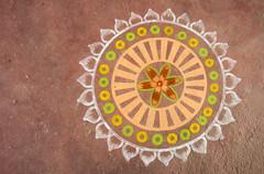 IMG_17771 (Manveer Jarosz) Tags: bharat hindustan india rajasthan thaanaogna vaas art floor flower mandala painting rangoli street village