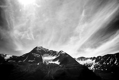 Mountains & Cloud Dances (Never Exceed Speed) Tags: alaska chugachmountains clouds mountains scenery landscape blackandwhite