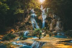 Paradise Falls (peter stewart photography) Tags: kuang si falls waterfall luang prabang laos travel tourism water nature landscape rocky