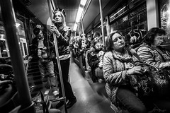 too tired to feel happy to go back home on the evening of a working day (Bruno Frerejean (Bruno Mallorca)) Tags: blackwhite blancoynegro palmademallorca people peopleintown streetphotos bustransportation bus nightshot nightphoto tired peopleslives