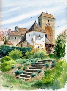 Saint Amand de Coly , le prébystère ( la mairie ) et le pigeonnier