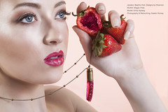 Bashful Owl (strawberries) (Katelin Kinney) Tags: druzy quartz crystal fruit icecream strawberry grapefruit pear geod glitter shine shimmer sparkly conceptual surreal advertising campaign beauty commercial blond beautiful jewels gems