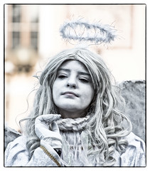 Not quite an Angel... (Andy J Newman) Tags: prague czechia cz praha candid street portrait artist statue living lady girl coloursplash colorsplash colour color oldtown square