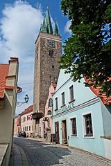 Telc 7: the steeple of the Kostel Sv Ducha (williamjosephmiller) Tags: telc old town moravia czech republic steeple renaissance architecture clock tower kostel sv ducha horlogekirche ëglise