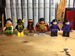 The Super Friends (LordAllo) Tags: lego dc super friends samurai black lightning apache chief el dorado the wonder twins justice league