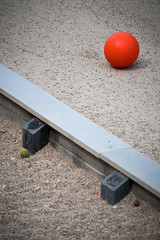 Red Ball, Green Ball (CarusoPhoto) Tags: pentax smc da 50200mm f456 ed wr pentaxsmcpentaxda50200mmf456edwr ks2 john caruso carusophoto 606 chicago city urban dog park red ball gravel banal mundane ordinary everyday