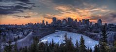Summertime - The Ice is Moving! (John Payzant) Tags: sunset hdr panorama edmonton alberta canada melting ice